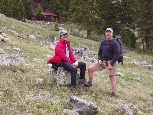 Alan and Duane near ski cabin after retreating from Sayres Benchmark