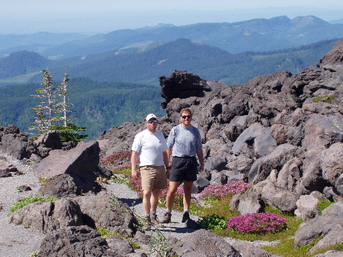 Duane and Dave in an alpine garden on the Mt. St. Helens climb