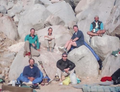 Tad, Leslie, Ken, Schmed, Foo'ball and Jim enjoy the afternoon sun back in camp.