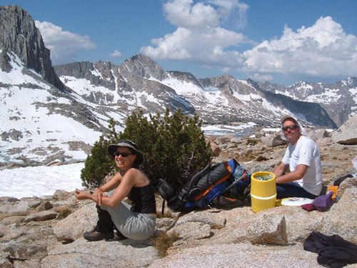 Leslie and Schmed enjoy lunch in Dusy Basin