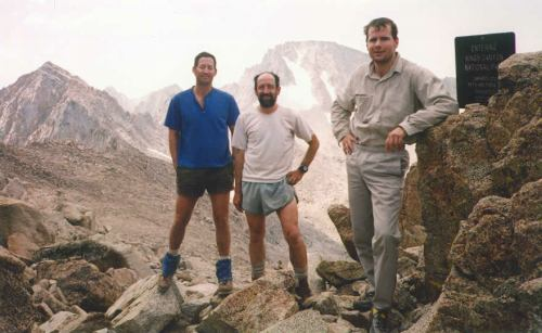 "Tad, Foo'ball and Jim (after they finally got up) at Lamarck Col with ""Mt. Tom Ross"" and Mt. Darwin behind."