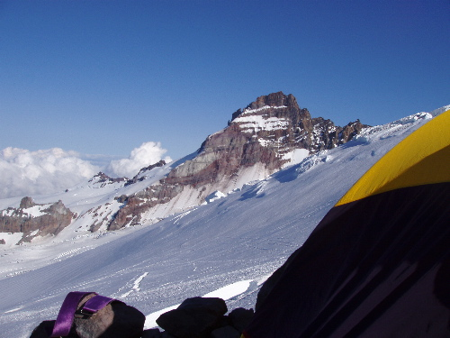 Tantalizing view of Little Tahoma from Camp Schurman