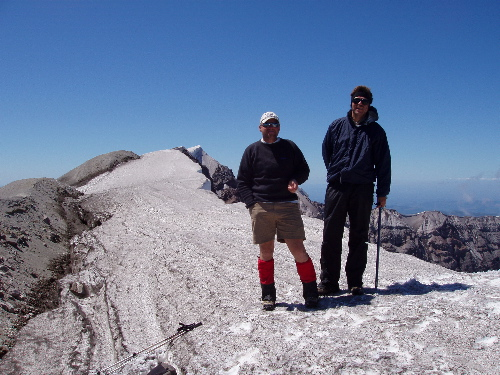 Duane and Dave on the summit cornice of Mt. St. Helens
